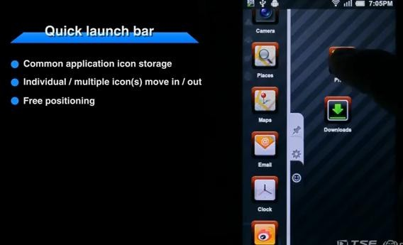 android quick launch bar