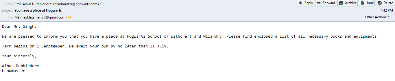 I am going to hogwarts - Fake email