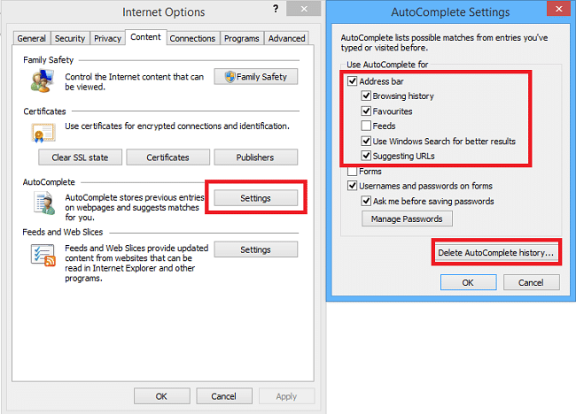 delete auto suggested urls from internet explorer