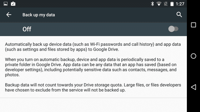 back up app data android m