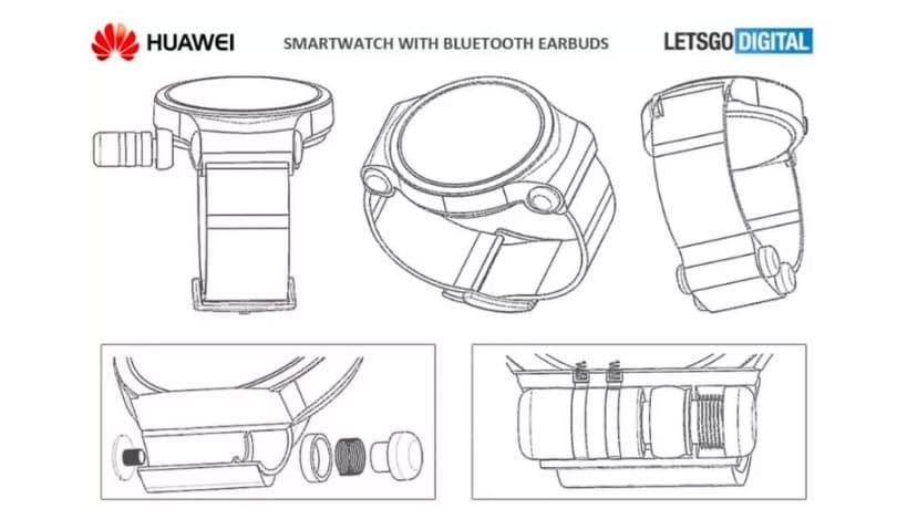 huawei smartwatch patent earbuds