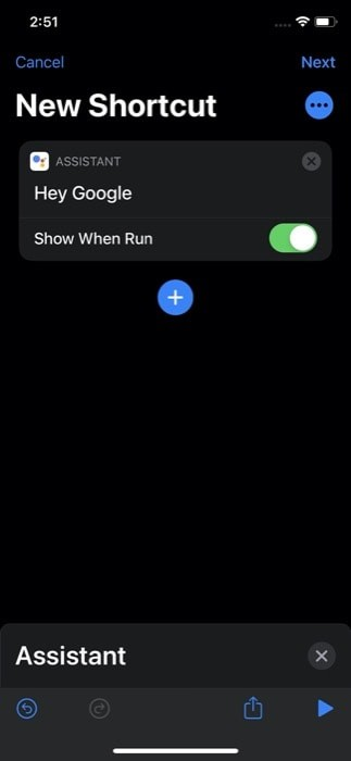 Create a Google Assistant shortcut on Shortcuts
