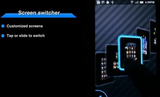 android 3d ui screen switcher