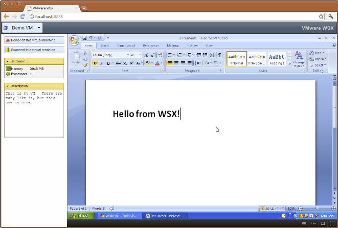 vm ware in browser