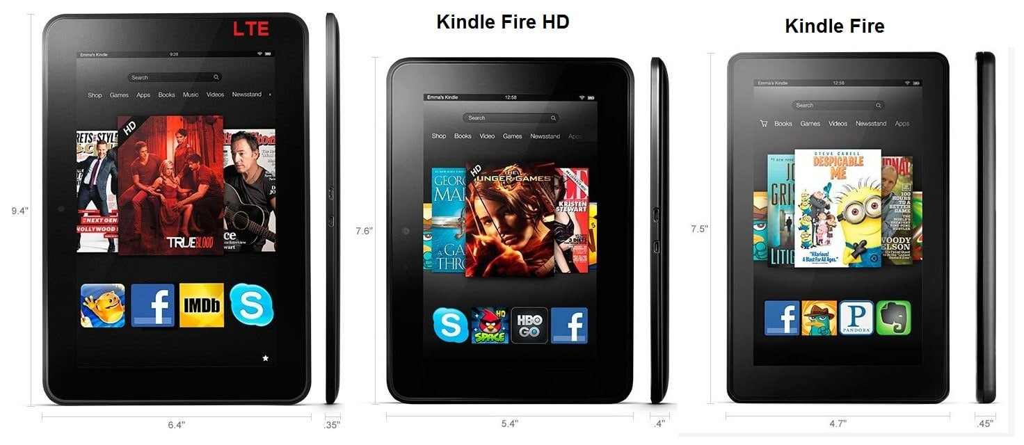 Kindle Fire vs HD vs HD LTE - design