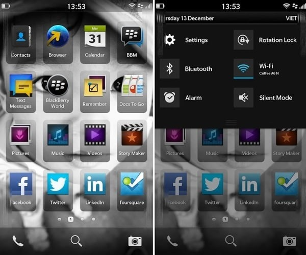 BB 10 Homescreen