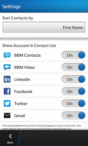 Filter contacts by account