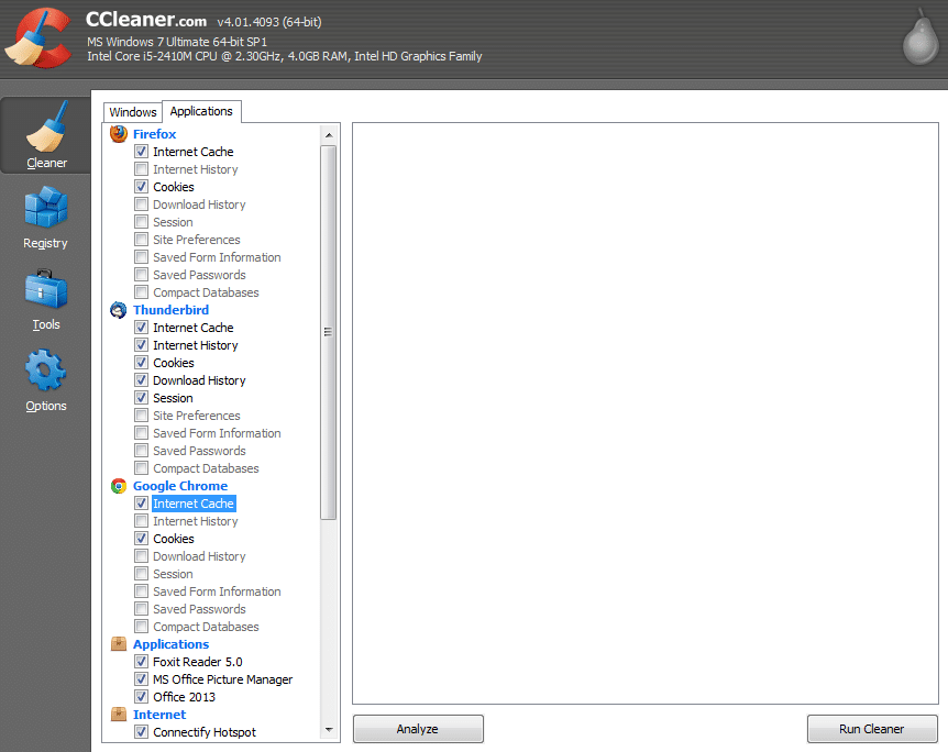 Cleaning things with CCleaner