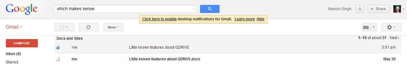 Searching for document content from Gmail