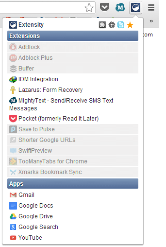 Extensity add-on lets you enable or disable any other extension in one click
