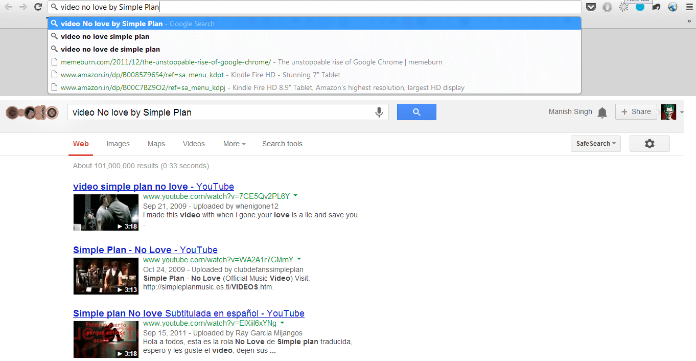 Video search result from omnibox