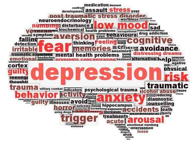 Depression conceptual design isolated on white