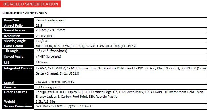 thinkvision specifications sheet