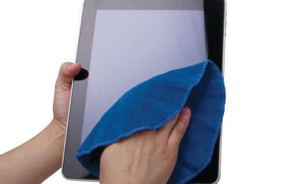 cleaning smartphone or tablet screen