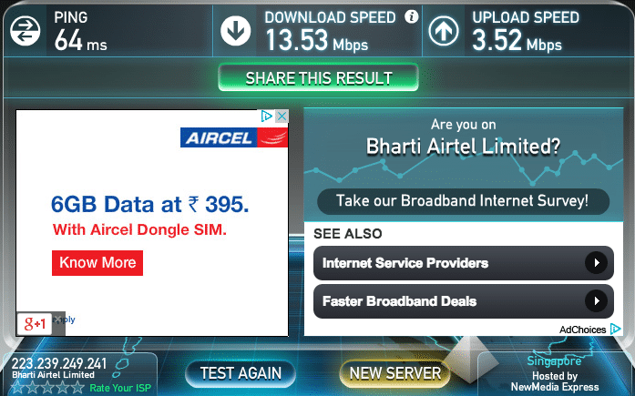Speed test result from server in Singapore