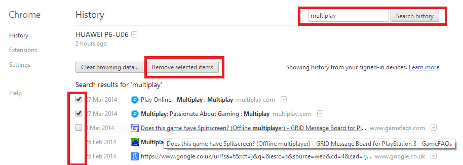 delete specific addresses from chrome history