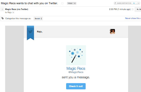 New email notification for DM
