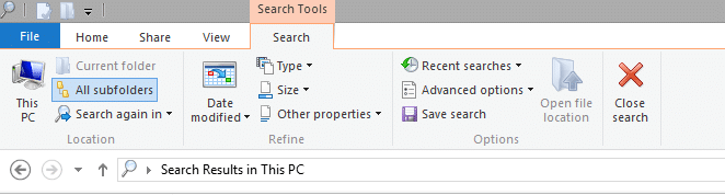 tips and tricks windows 8 file search search ribbon