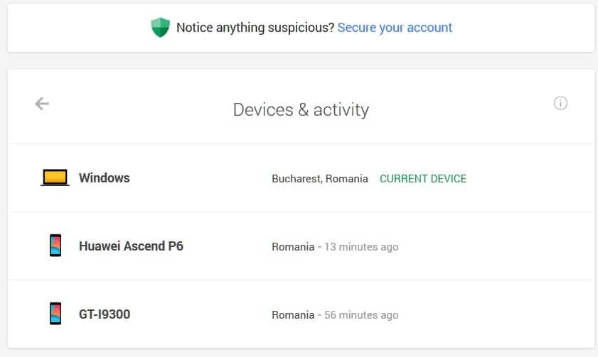 google devices activity security
