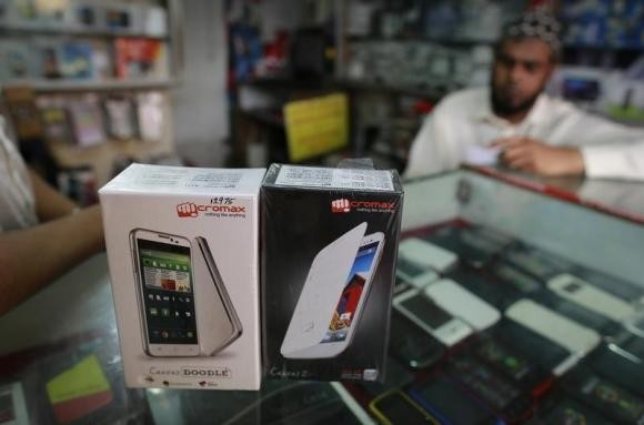 Micromax mobile phones are displayed at a mobile store in Mumbai