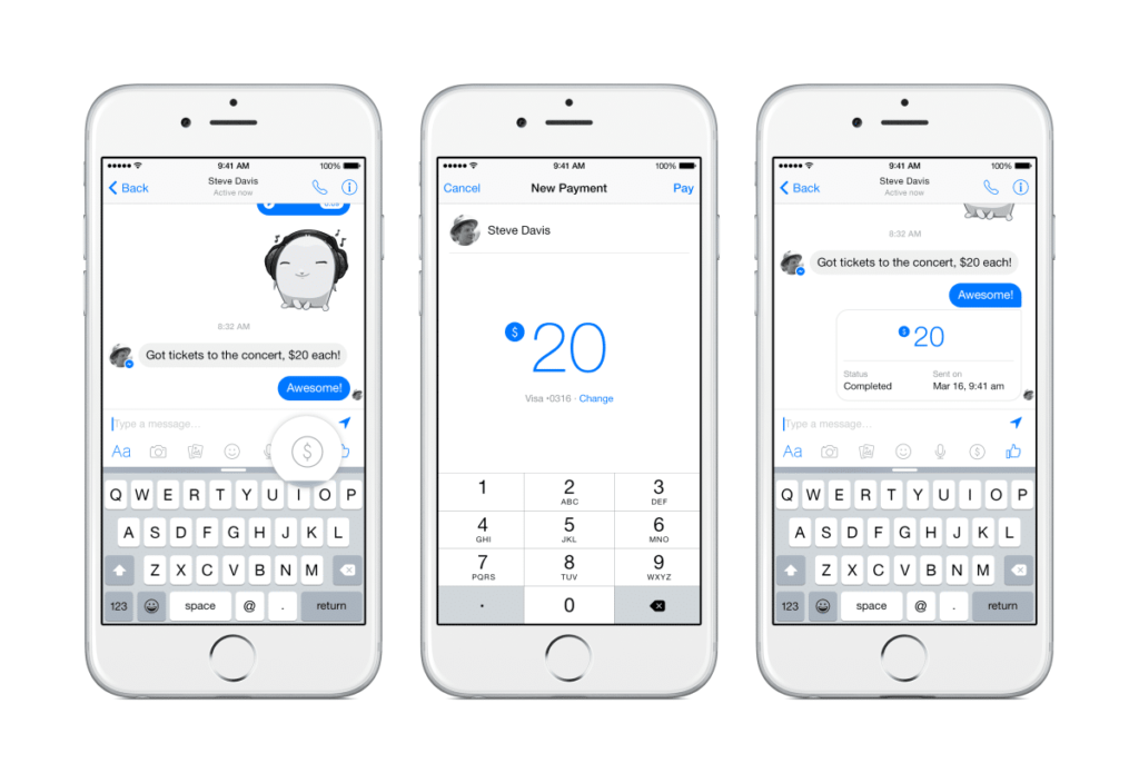 facebook messenger send money