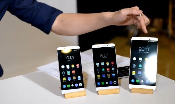 LeTV S1, S1 Pro and the Le Max (left to right) during the launch event in China