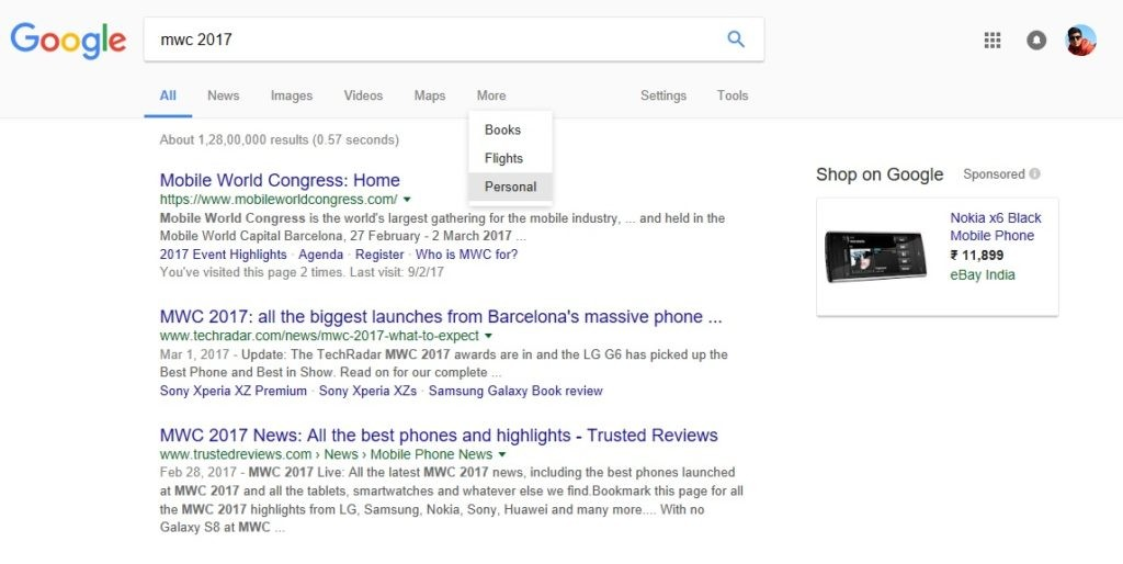 Google Personal Tab Search Feature