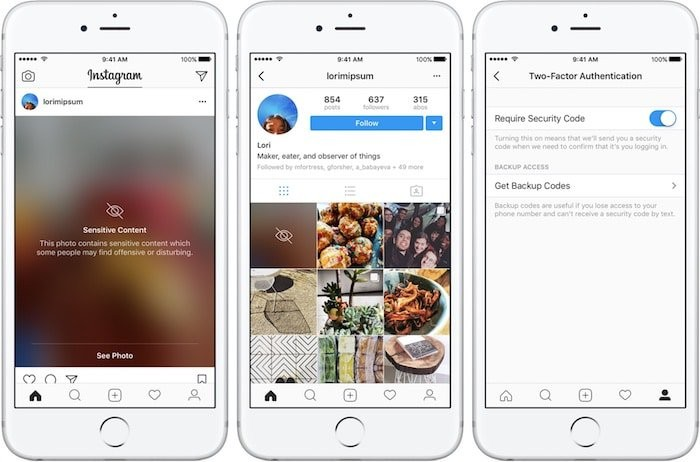 Instagram two factor authentication blurred posts iPHone screenshot 001