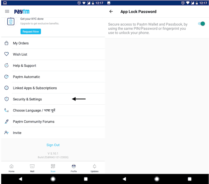 paytm fingerprint