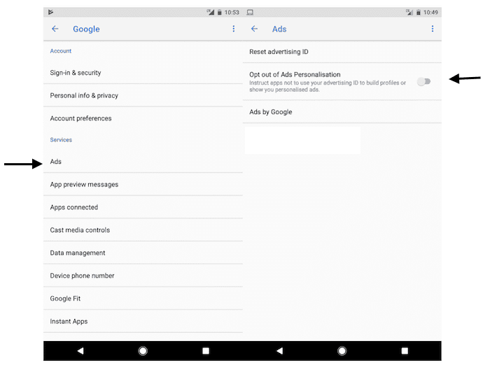 disable personalized ads android apps1