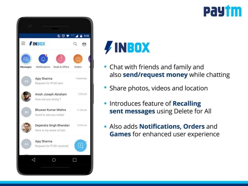 Paytm's new Inbox Messaging Service Offers In-Chat Payments