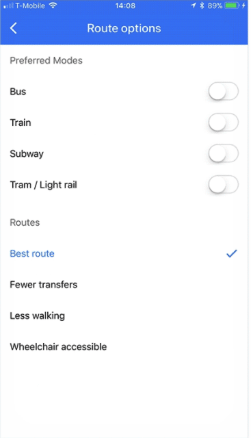 google maps transit wheelchair