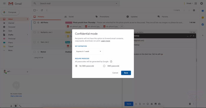Gmail's Forthcoming Redesign will Include the Ability to Send Passcode-Protected and Expiring Emails