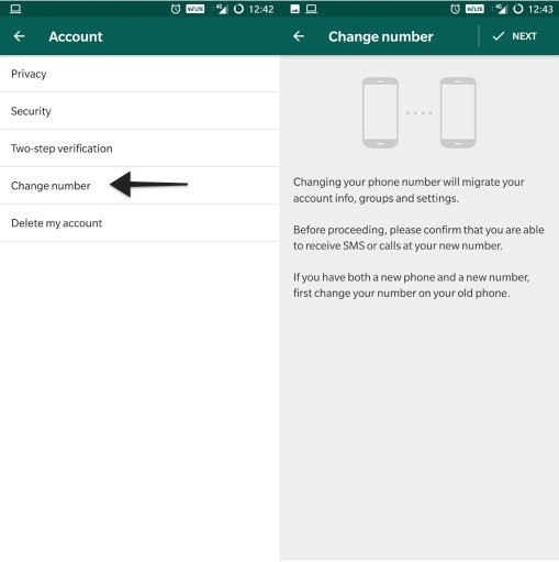 whatsapp change number notify contacts feature