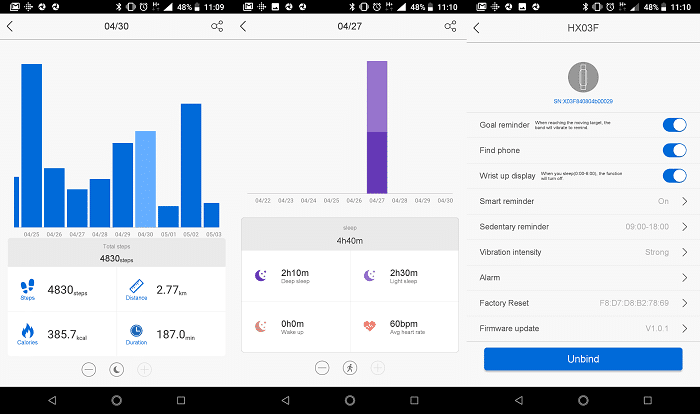 Stats from Lenovo HX03F in App