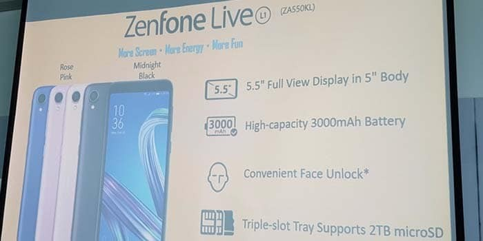 Asus' new Zenfone Live L1 is the First Android Go Phone to Feature an 18:9 Tall Screen