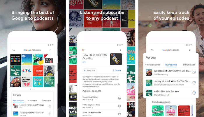 google podcasts android screenshots