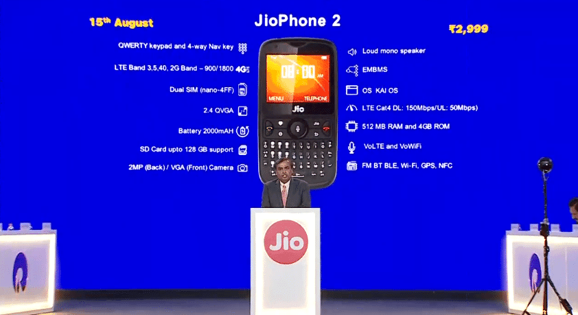 JioPhone 2 Launched with Bigger Screen and QWERTY Keypad for Rs. 2,999