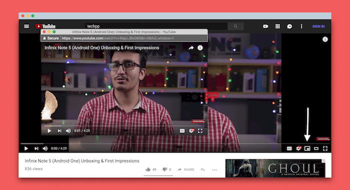 youtube pop out button
