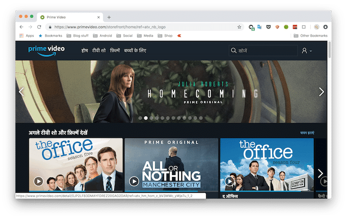 You can now Browse Amazon Prime Video in Hindi