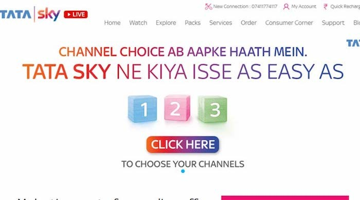 tatasky channel selection