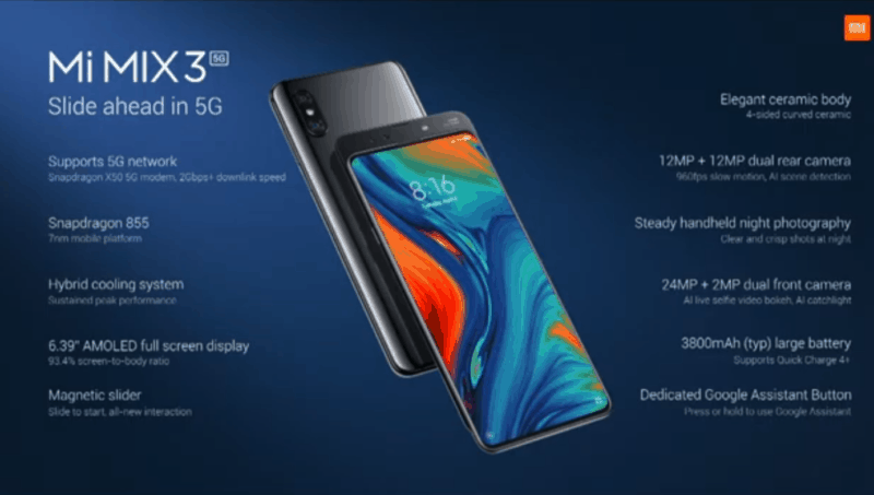 Xiaomi Mi Mix 3 5G Edition with Snapdragon 855 Announced for 599 Euros