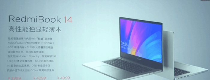 RedmiBook 14 with up to Intel i7 CPU and Nvidia MX250 GPU Launched Starting at 3999 Yuan