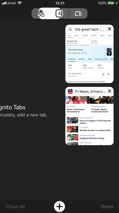 access different tabs 1