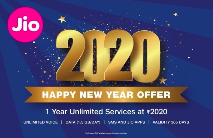 Reliance Jio '2020 Happy New Year Offer' announced