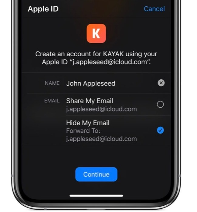 Sign in with Apple hide email