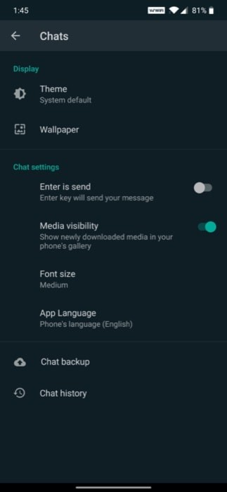 WhatsApp Beta Enable Dark Mode 2