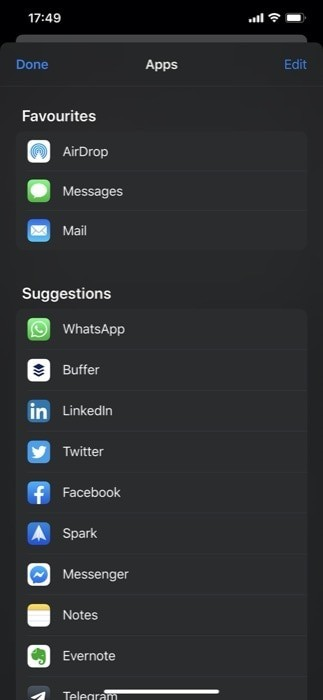 Customize app based sharing section 2