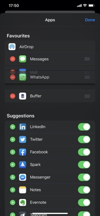 Customize app based sharing section 4