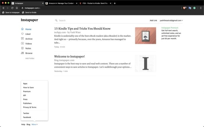 Send Instapaper Articles to Kindle 1 1
